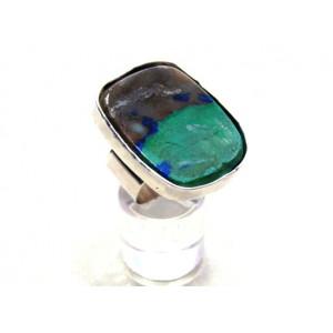 Ασημένιο δακτυλίδι  με ενιαίο   ορυκτό λίθο αζουρίτη – μαλαχίτη
