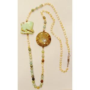 Κολιέ (60 εκ.) με μαργαριτάρια, οπάλιο λίθο και χρυσοπράσιο