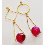 Earring with agate ruby